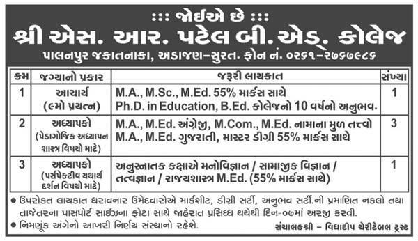 Shri S. R. Patel B.Ed. College Recruitment 2016