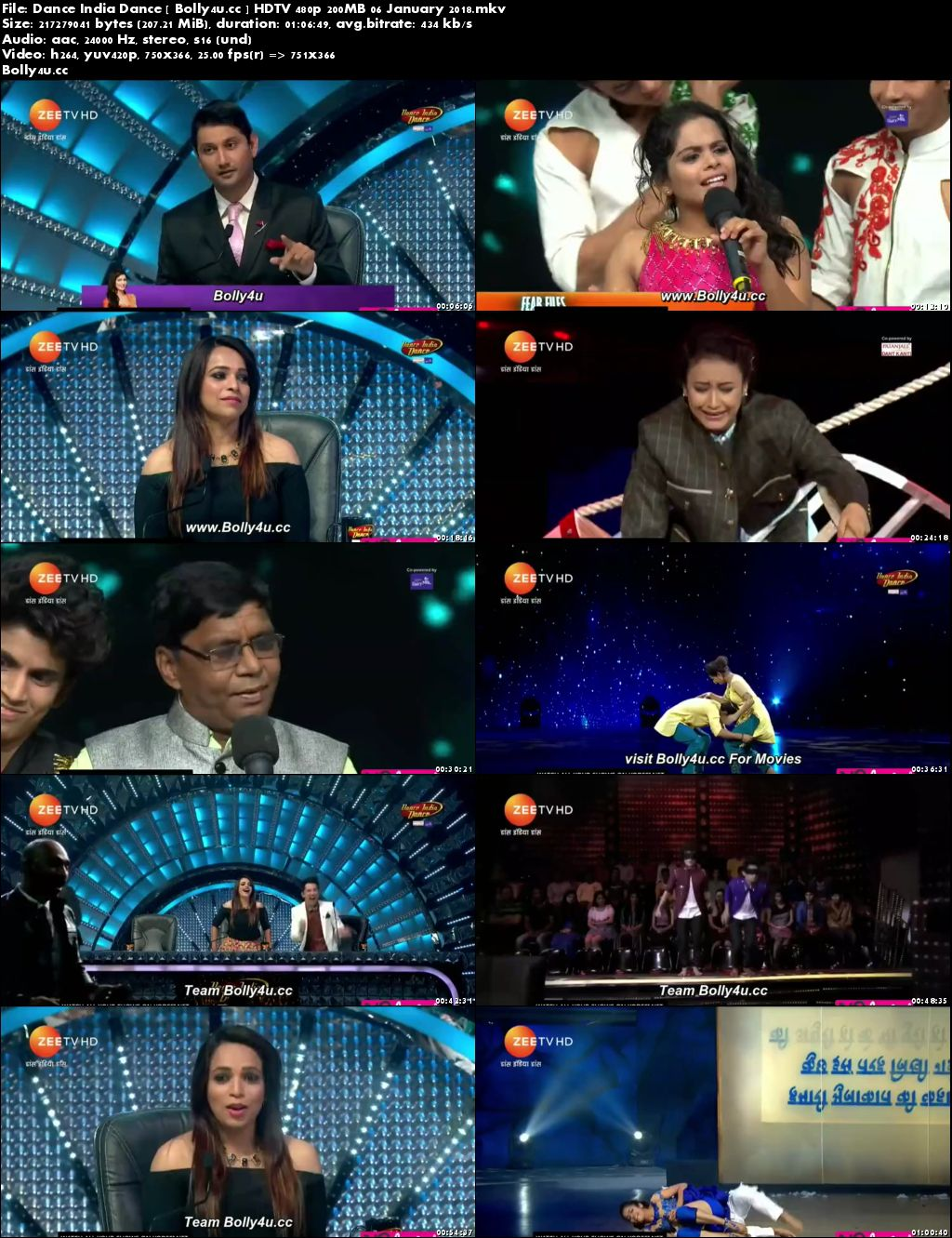 Dance India Dance HDTV 480p 200MB 06 January 2018 Download