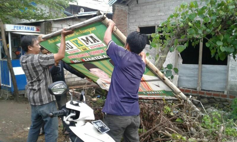 Panwaslu Lotim Mulai Tertibkan Baliho Paslon  
