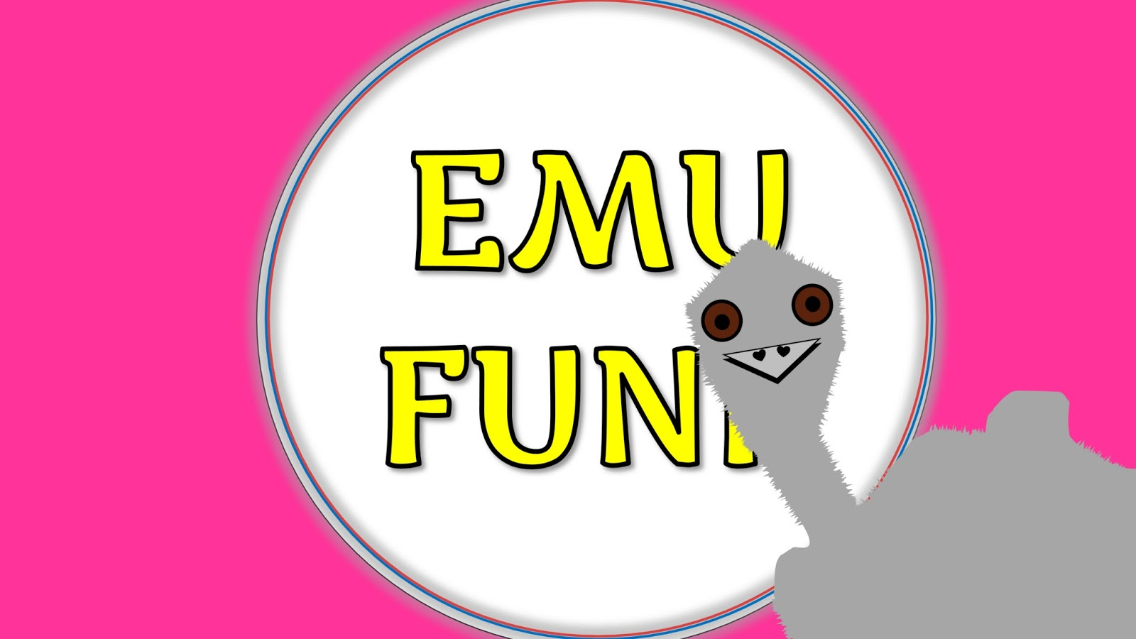 Em the Emu stands in front of an Emu Funk sign