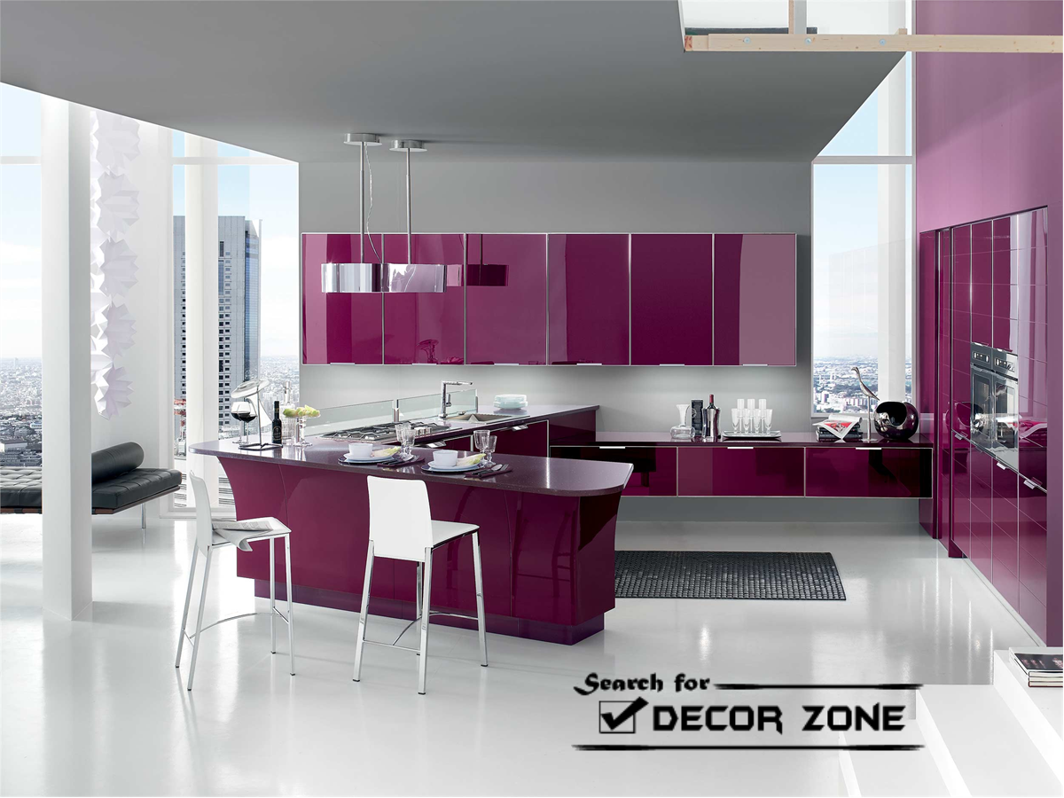 Purple Colour Kitchen Cabinets