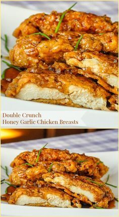 Double Crunch Honey Garlic Chicken Breasts - Our most popular recipe of the last 5 years! Super crunchy, double coated chicken breasts get dipped in the best ever honey garlic sauce before serving. This easy chicken dish has millions of page hits on RockRecipes.com and has been pinned hundreds of thousands of times on Pinterest