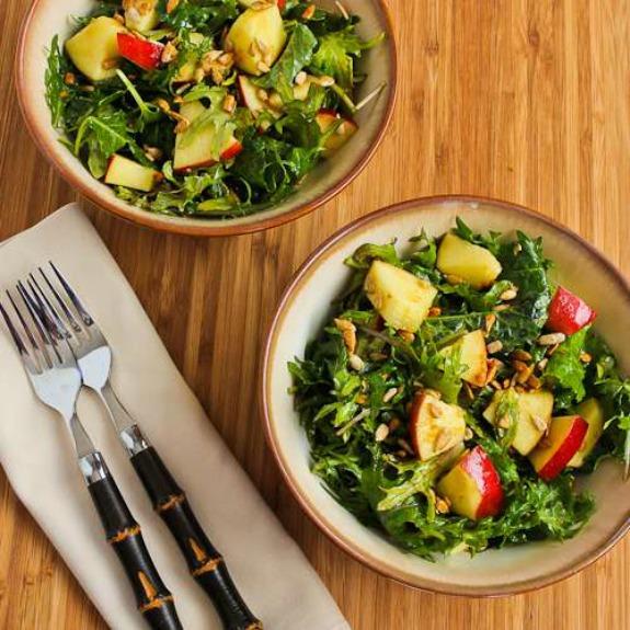 Raw Baby Kale Salad with Apples, Sunflower Seeds, and Lemon-Dijon Vinaigrette found on KalynsKitchen.com
