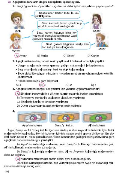 6. Sınıf Tuna Matbaa Yayınları Fen Bilimleri Ders Kitabı 146. Sayfa Cevapları Sesin Maddeyle Etkileşimi