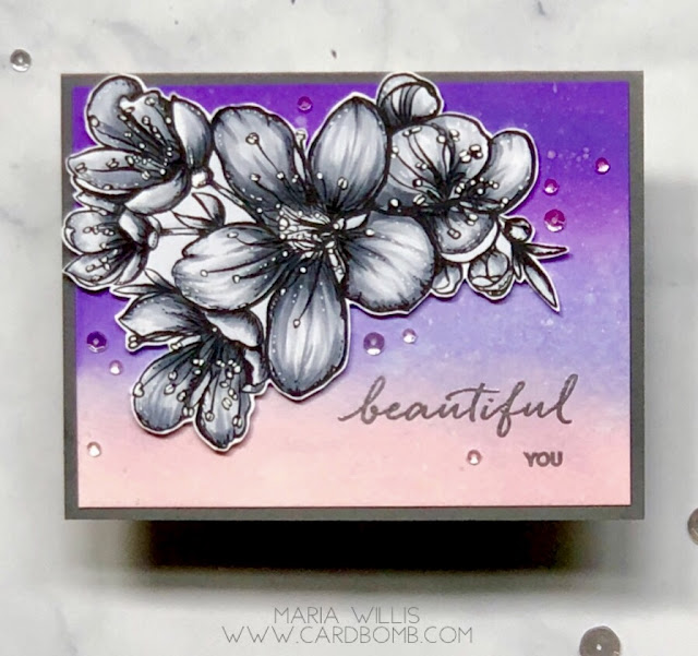 #mariawillis, #cardbomb, #card, #stamp, #ink, #paper, #papercraft, #cardmaking, #handmade, #diy, #create, #color, #copics, #copicmarkers, #flower, #ellenhutson, #mondosakura,