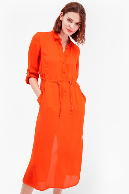 orange french connection shirt dress, orange shirt dress,