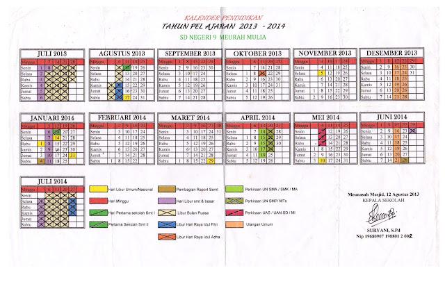 KALENDER PENDIDIKAN SD TAHUN PELAJARAN 2013-2014