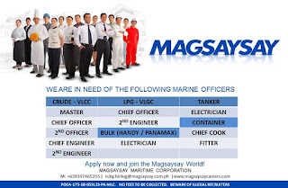 Available merchant seaman careers for a Filipino seaman crew rank officer, engineer, rating joining onboard December 2018