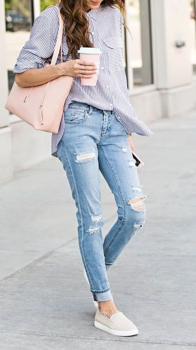 summer casual style addiction: bag + shirt + ripped jeans