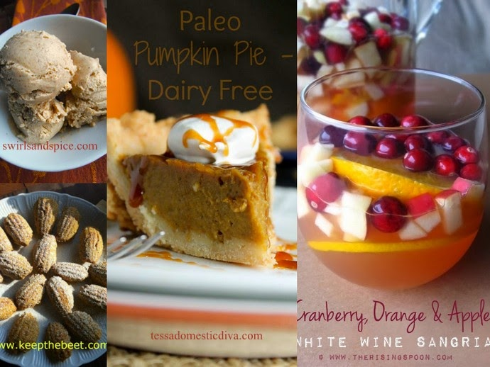 Paleo Pumpkin Pie, Cranberry Orange Sangria, Pumpkin Madeline's and Savoring Saturdays linky party #40