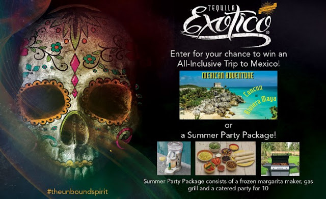 Exotico Tequila is giving away a trip to MEXICO and runner up winners will get summer party prize packs with a frozen margarita maker, gas grill and a catered party!