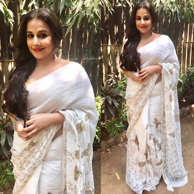 Vidya Balan in White Cotton Printed Saree
