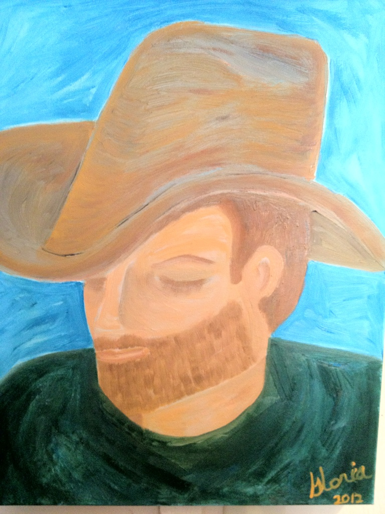 "oil painting by Gloria Poole; ""sleeping in a stetson; not a real person!"