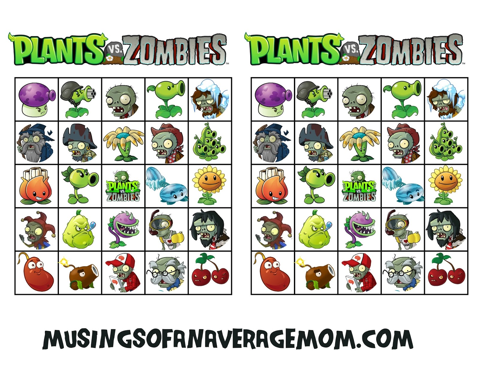 Musings of an Average Mom: Plants vs. Zombies bingo