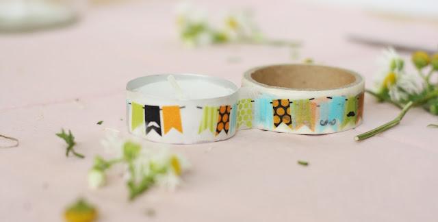 Kerze mit Washi Tape verzieren