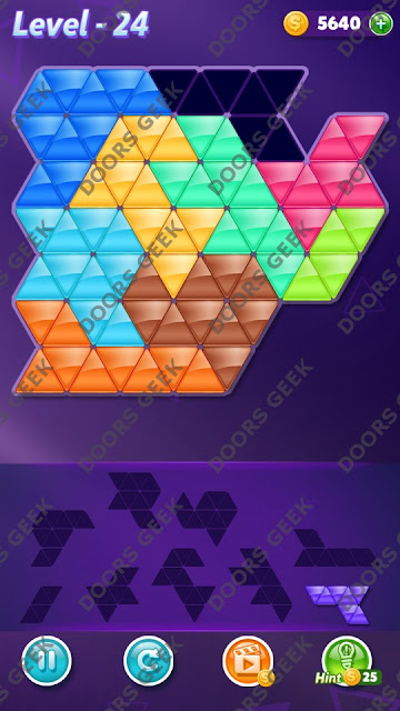 Block! Triangle Puzzle 9 Mania Level 24 Solution, Cheats, Walkthrough for Android, iPhone, iPad and iPod