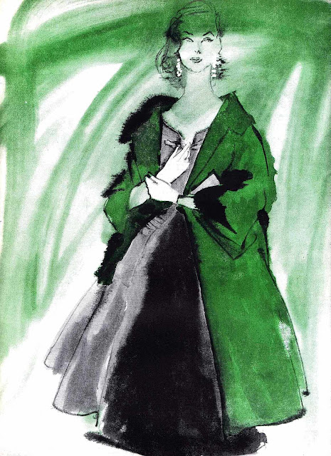 A 1955 fashion illustration in black & green watercolor