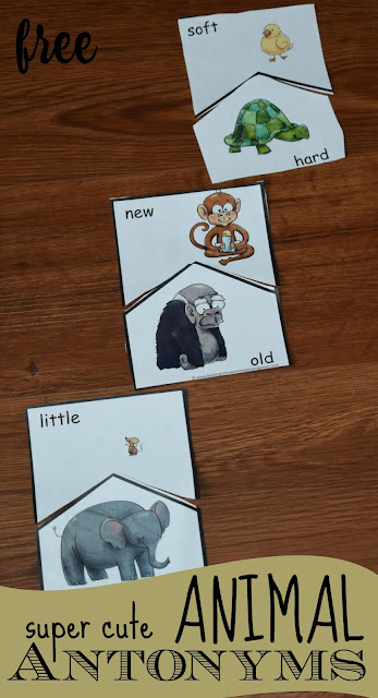 FREE Super Cute Animal Antonyms - kids will love these free printable opposite puzzles for preschool, kindergarten, first grade, and 2nd grade kids.