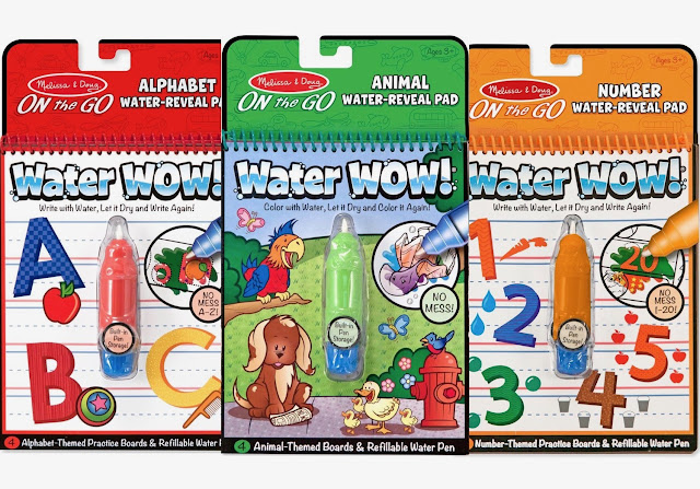 Melissa & Doug On The Go Water Wow! Reusable Water-Reveal Activity Pads, 3-pk, Animals, Alphabets, Numbers