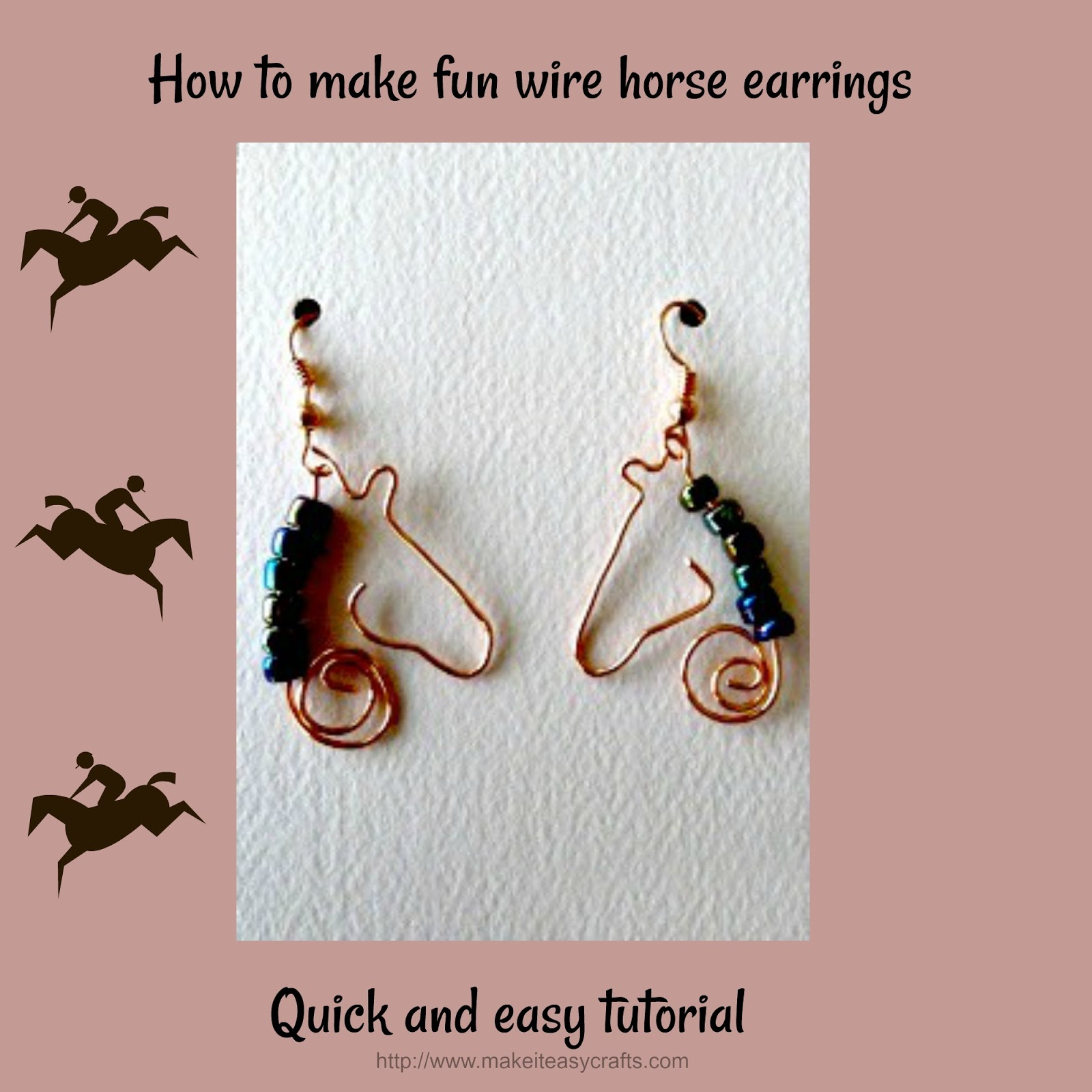 Make it easy crafts: How to make fun wire horse silhouette earrings