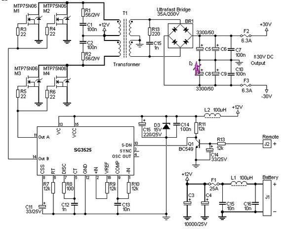 power amplifiers circuit uses sg3525 ic mosfets and switching power
