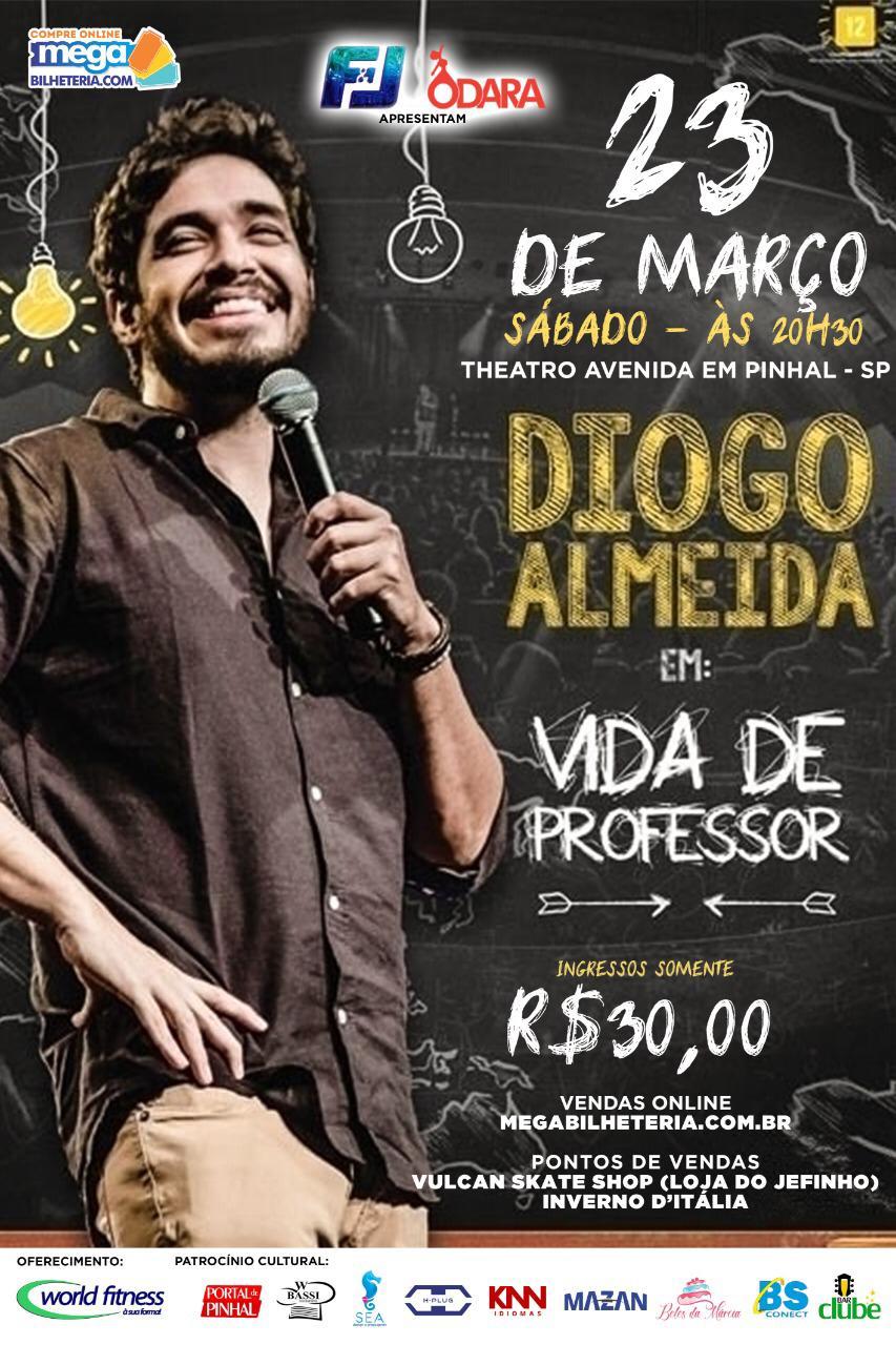 """Diogo Almeida traz espetáculo """"Vida de Professor"""" para Espírito Santo do Pinhal"""