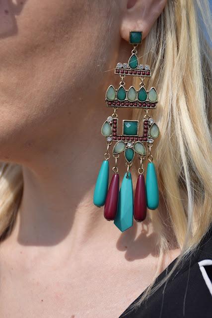 orecchini pendenti majique orecchini verdi e burgundy accessori priamvera estate