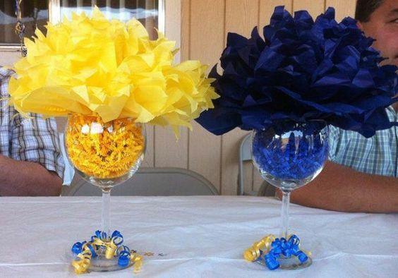 11 centros de mesa y souvenirs para fiesta de graduaci n - Centros de mesa con copas ...