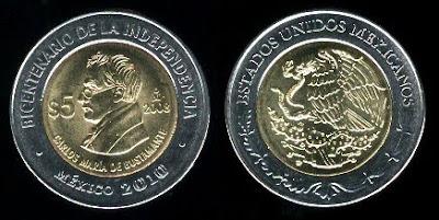Mexico new 5 Pesos (2008) Carlos Maria De Bustamante Coin