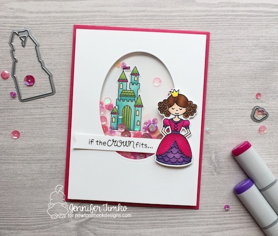 Princess Card by Jennifer Timko | Once Upon a Princess stamp set by Newton's Nook Designs #newtonsnook #princess #handmade
