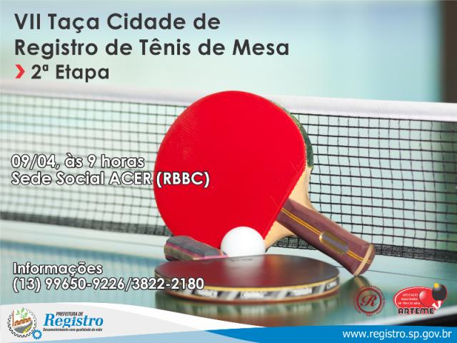 2ª etapa da VII Taça Cidade de Registro-SP de Tênis de Mesa será neste domingo (09/04)