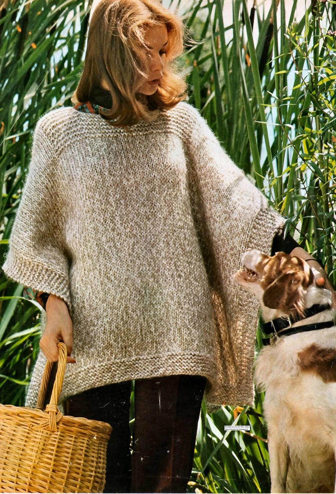 Le plus simple des ponchos, tricoté au point mousse et en jersey f0b45818fcb