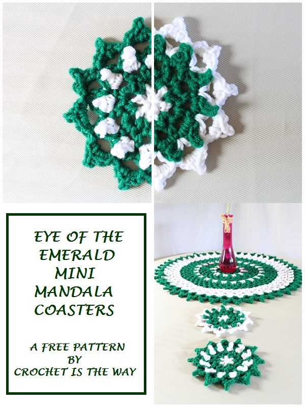 free pattern, crochet, mandala, mini, coasters, green, St. Patty's Day, St. Patrick's Day
