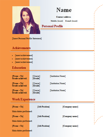 download cv simple with picture color orange  2 pages