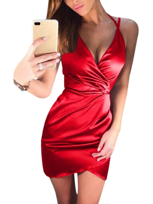 Red V-neck Crossed Front Mini Wrap Dress