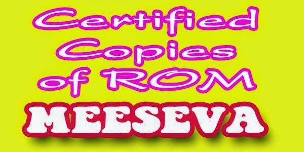 Certified Copies of ROM Aplly Meeseva