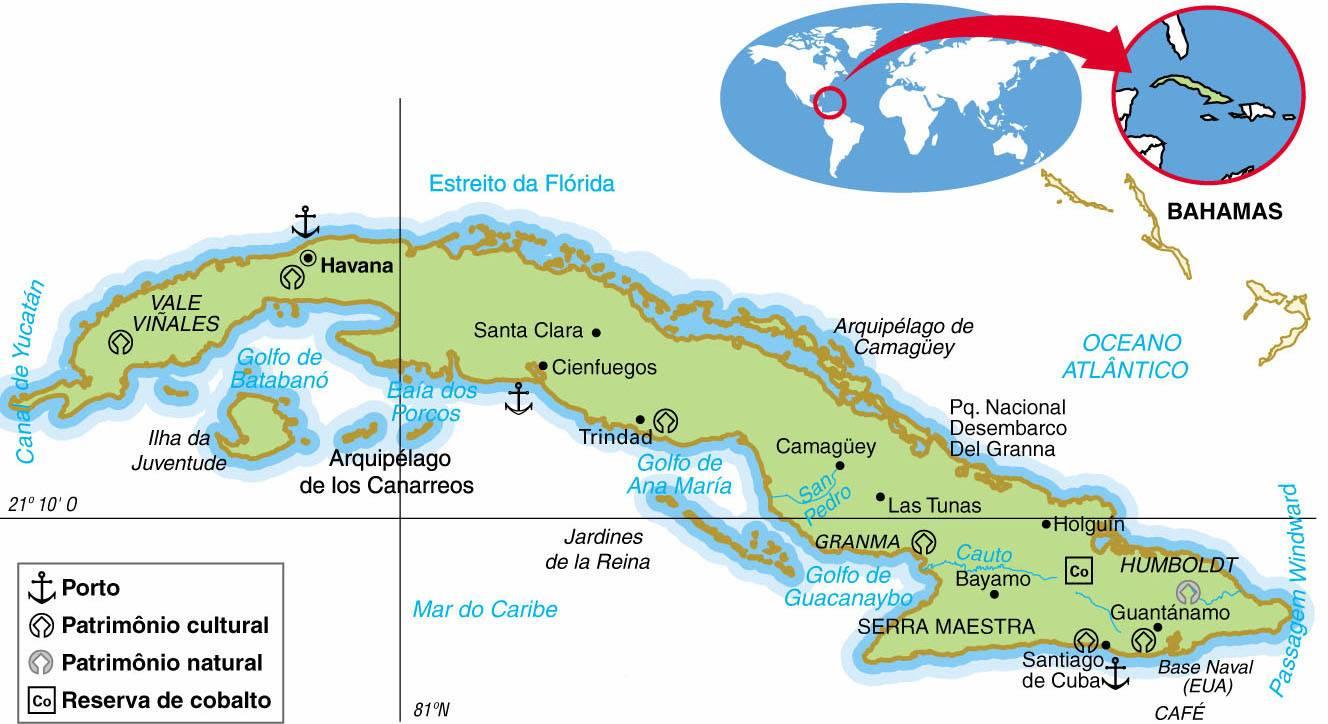 CUBA, ASPECTOS GEOGRÁFICOS E SOCIOECONÔMICOS DE CUBA