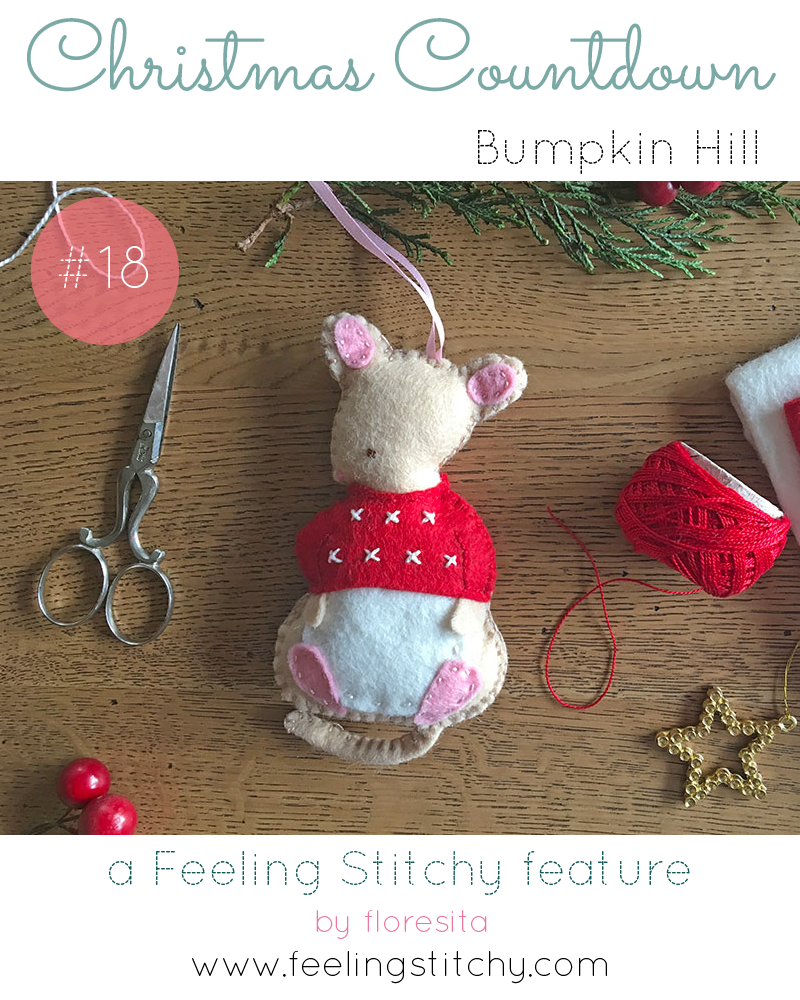 Christmas Countdown 18 - Bumpkin Hill Monty Mouse Felt Ornament Pattern, featured on Feeling Stitchy by floresita