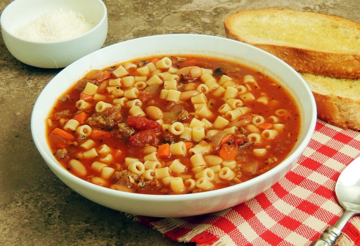 Olive Garden Pasta e Fagioli Copycat Recipe - Make your favorite Olive Garden soup at home for a fraction of the cost, and no waiting for a table!  #pasta #copycat #olivegarden #pastafagioli #recipe | bobbiskozykitchen.com
