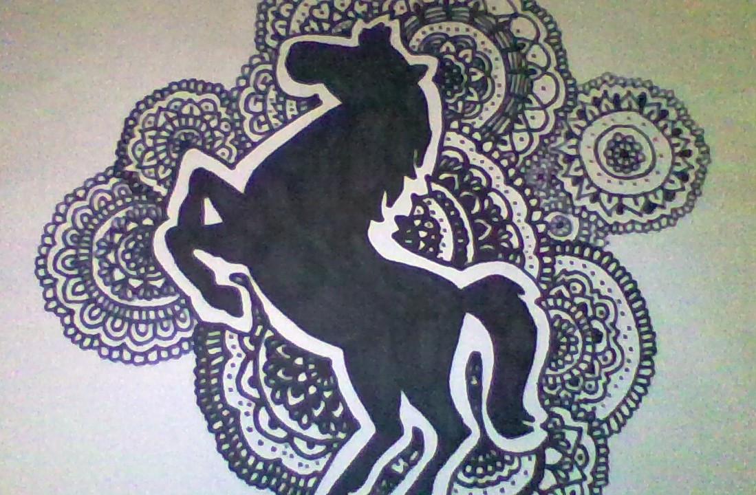 Zentangle Y Doodle Art Dibujo De Un Caballo Horse Drawing