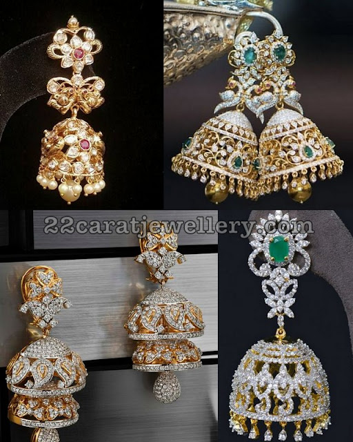 Large Two Step Rose Cut Diamond Jhumkas