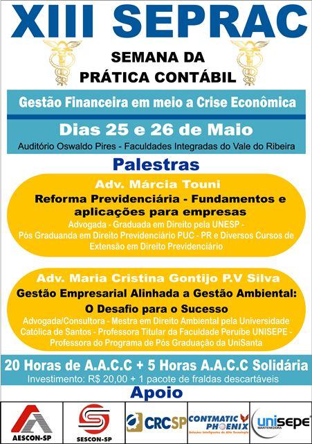 """XIII SEPRAC - """"Semana da Prática Contábil"""" na Unisepe em Registro-SP"""