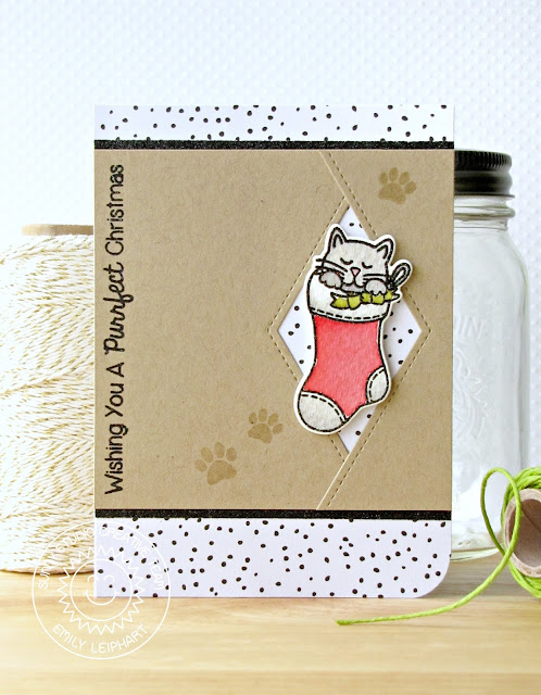 Sunny Studio Stamps: Santa's Helpers Cat In Stocking Christmas Card by Emily Leiphart.