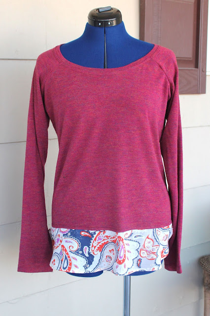 Bellevue top made from a sweater knit with a paisley accent
