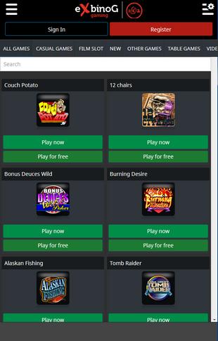 Exbinog Casino Mobile Screen