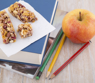 Healthy snack with school books