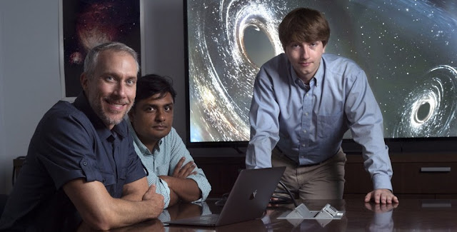 There are a lot more black holes in the Milky Way than previously thought, according to a new UCI study by (from left) James Bullock, chair and professor of physics & astronomy; Manoj Kaplinghat, professor of physics & astronomy; and Oliver Elbert, physics & and astronomy graduate student. Steven Zylius / UCI