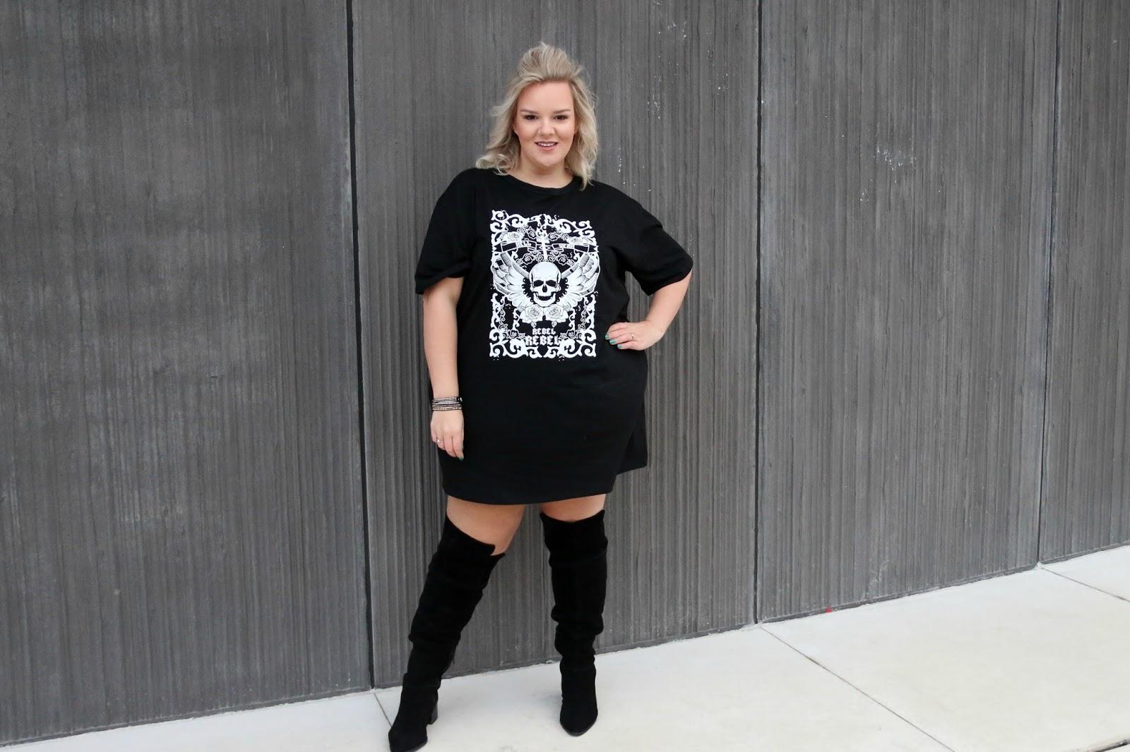 481f9c0ca53 In The Style Curve Charlotte Crosby Black Rebel Rebel Skull Oversized T  Shirt Dress on plus ...