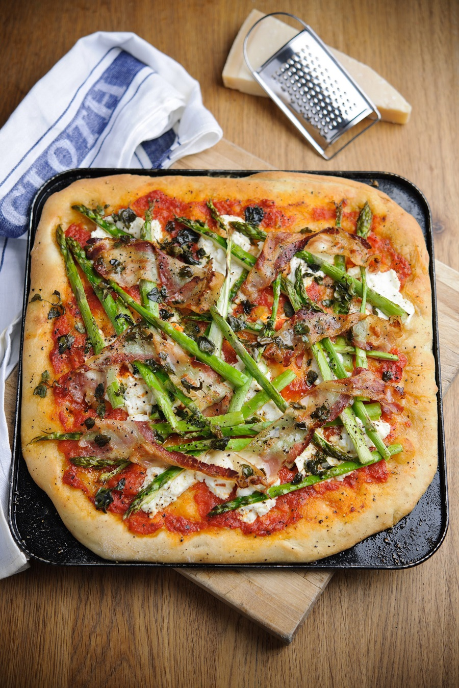 Asparagus, Ricotta And Pancetta Pizza.
