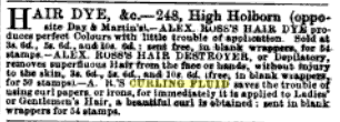 Ad for hair dye and curling fluid, in The Atheneum, 1858